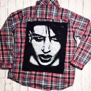 Handmade Marilyn Manson Rock Band Flannel Shirt